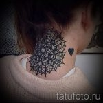 мандала на шее тату - фото пример готовой татуировки от 01052016 15