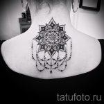 мандала на шее тату - фото пример готовой татуировки от 01052016 18