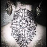 мандала на шее тату - фото пример готовой татуировки от 01052016 19