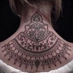 мандала на шее тату - фото пример готовой татуировки от 01052016 2