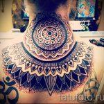 мандала на шее тату - фото пример готовой татуировки от 01052016 20