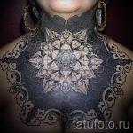 мандала на шее тату - фото пример готовой татуировки от 01052016 23
