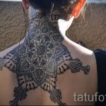 мандала на шее тату - фото пример готовой татуировки от 01052016 24