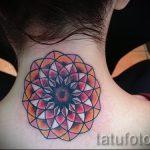 мандала на шее тату - фото пример готовой татуировки от 01052016 27