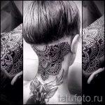 мандала на шее тату - фото пример готовой татуировки от 01052016 29