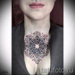 мандала на шее тату - фото пример готовой татуировки от 01052016 31