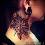 мандала на шее тату - фото пример готовой татуировки от 01052016 32