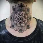 мандала на шее тату - фото пример готовой татуировки от 01052016 34