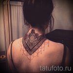 мандала на шее тату - фото пример готовой татуировки от 01052016 4