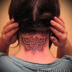 мандала на шее тату - фото пример готовой татуировки от 01052016 6