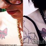 тату бантика на ключице - фото пример готовой татуировки 02052016 1