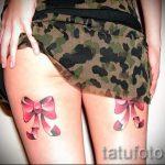 тату бантики на ляшках - фото пример готовой татуировки 02052016 14