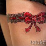 тату бантики на ляшках - фото пример готовой татуировки 02052016 4