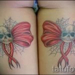 тату бантики на ляшках - фото пример готовой татуировки 02052016 7