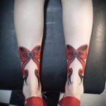 тату бантики на ногах сзади фото - фото пример готовой татуировки 02052016 20