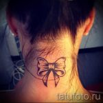 тату бантик на шее - фото пример готовой татуировки 02052016 1