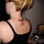 тату бантик на шее - фото пример готовой татуировки 02052016 9