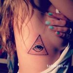 тату глаз в треугольнике для девушки - фото готовой татуировки от 13052016 2