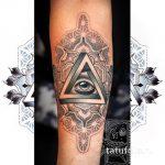тату глаз в треугольнике дотворк - фото готовой татуировки от 13052016 2