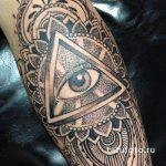 тату глаз в треугольнике дотворк - фото готовой татуировки от 13052016 3