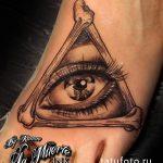 тату глаз в треугольнике из костей - фото готовой татуировки от 13052016 2