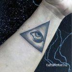 тату глаз в треугольнике на запястье - фото готовой татуировки от 13052016 4