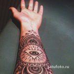 тату глаз в треугольнике на предплечье - фото готовой татуировки от 13052016 6