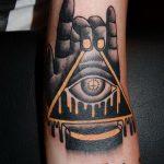тату глаз в треугольнике на руке - фото готовой татуировки от 13052016 9