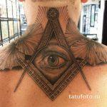 тату глаз в треугольнике на шее - фото готовой татуировки от 13052016 13