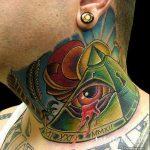 тату глаз в треугольнике на шее - фото готовой татуировки от 13052016 14