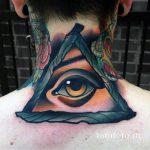 тату глаз в треугольнике на шее - фото готовой татуировки от 13052016 16