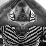 тату глаз в треугольнике на шее - фото готовой татуировки от 13052016 2