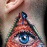 тату глаз в треугольнике на шее - фото готовой татуировки от 13052016 6