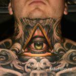 тату глаз в треугольнике на шее - фото готовой татуировки от 13052016 7