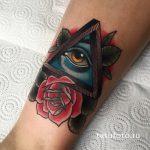 тату глаз в треугольнике с розами - фото готовой татуировки от 13052016 11