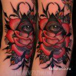тату глаз в треугольнике с розами - фото готовой татуировки от 13052016 3