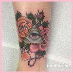 тату глаз в треугольнике с розами - фото готовой татуировки от 13052016 4