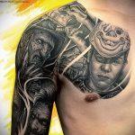 тату доспехи на груди - пример готовой татуировки от 16052016 8