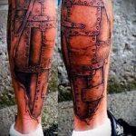тату доспехи на ногу - пример готовой татуировки от 16052016 2