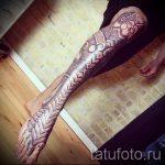 тату доспехи на ногу - пример готовой татуировки от 16052016 4