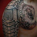 тату доспехи на плече фото - пример готовой татуировки от 16052016 10