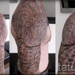 тату доспехи на плече фото - пример готовой татуировки от 16052016 2