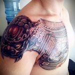 тату доспехи на плече фото - пример готовой татуировки от 16052016 7