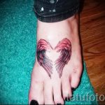 тату крылья на ступне - фото пример готовой татуировки от 23.05.2016 1