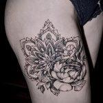 тату мандала на бедре - фото пример готовой татуировки от 01052016 3