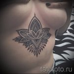 тату мандала под грудью - фото пример готовой татуировки от 01052016 1
