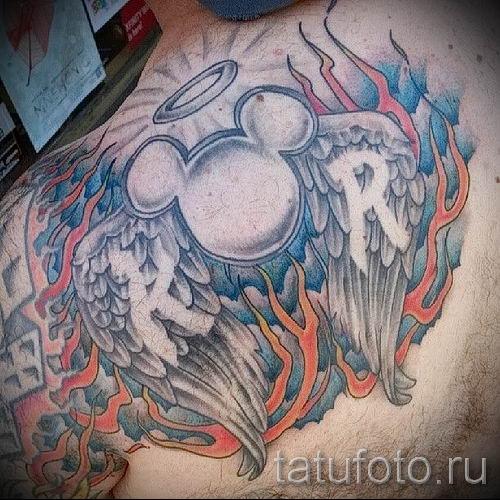 тату микки маус ангел - готовая татуировка от 16052016 1