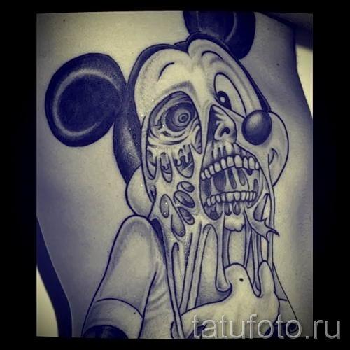 тату микки маус на животе - готовая татуировка от 16052016 2