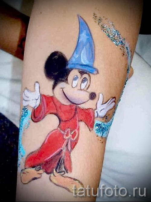 тату микки маус на руке - готовая татуировка от 16052016 16