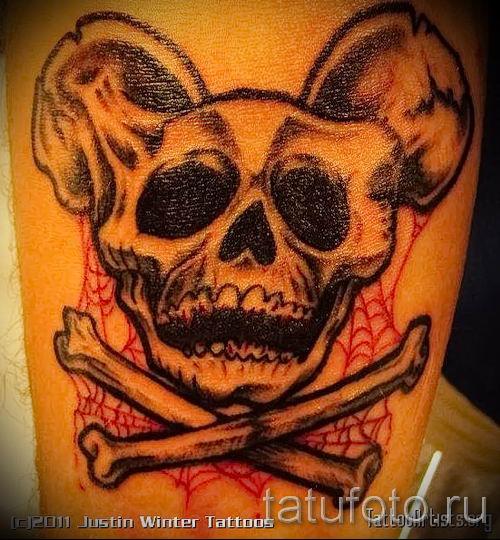 тату микки маус с черепом - готовая татуировка от 16052016 1